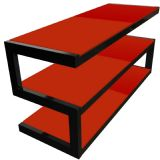 Norstone Esse 3 Shelf AV TV Stand with Glass - Red 1100mm